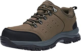 Mens Hiking Shoes Low Cut Boots Leather Walking Shoes for Outdoor Trekking Training Casual Work