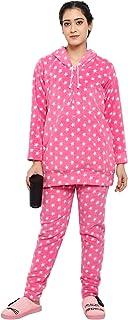 CIERGE Women's Woolen Free Size Hoodie Night Suit (Star Pattern)