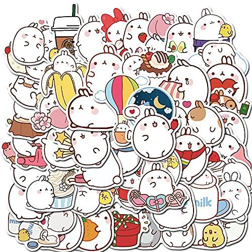 100PCS 10/30 / 50pcs Lindo Redondo Conejo Niños Dibujos Animados Maleta Cuaderno Patinaje Pegatinas Personalizadas Graffiti Pegatinas Impermeable Al por Mayor estéticas (Color : 30PCS)