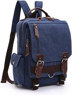 Mochila Hombres Mujer Lona Bolso de Bandolera La Bolsa de Mensajero Bolsa de Lona Bolsa de Hombro Messenger Bag Backpack. (Azul Profundo)