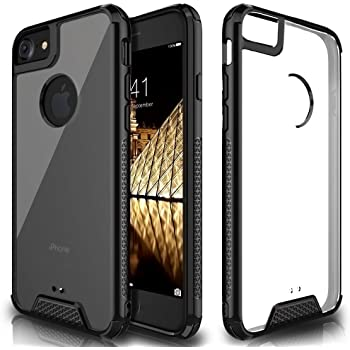 Premium iPhone 7 8 Case, Clear Cover with Air Cushion Armor - Rugged Heavy Duty Shockproof Bumper - Transparent Hybrid Protective TPU + PC Case Cover for Apple iPhone 7/8 - Black