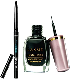 Lakme Insta Eye Liner, Black, 9ml & Lakmé Eyeconic Kajal, Deep Black, 0.35g