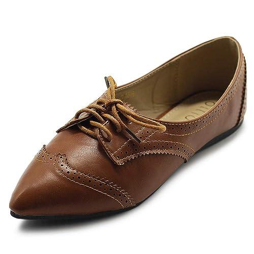 fd04a61ad71f6 Ollio Women s Ballet Shoe Flat Enamel Pointed Toe Oxford
