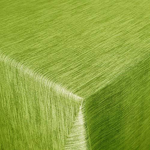 DecoHomeTextil Wachstuch Wachstischdecke Tischdecke Gartentischdecke Robuste Leinen Prägung Grün 140 x 100 cm Eckig abwaschbar Rand Overlock Naht