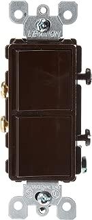 Leviton 5634 15 Amp, 120/277 Volt, Decora Single-Pole, Single-Pole AC Combination Switch, Commercial Grade, Grounding, Brown