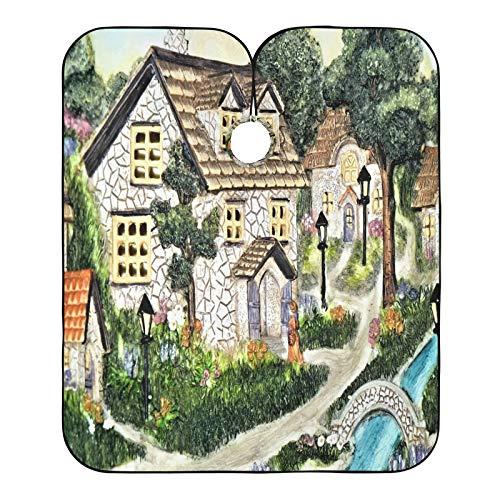 Cabo de peluquero pintado a mano de arcilla antigua aldea impresa cabos de corte de pelo, babero para el salón de casa y barbería