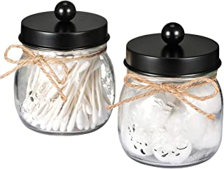 SheeChung Apothecary Jars Set,Mason Jar Decor Bathroom Vanity Storage Organizer Canister,Premium Quality Glass Qtip Holder Dispenser for Qtips,Cotton Swabs,Ball - Stainless Steel Lid (Black, 2-Pack)