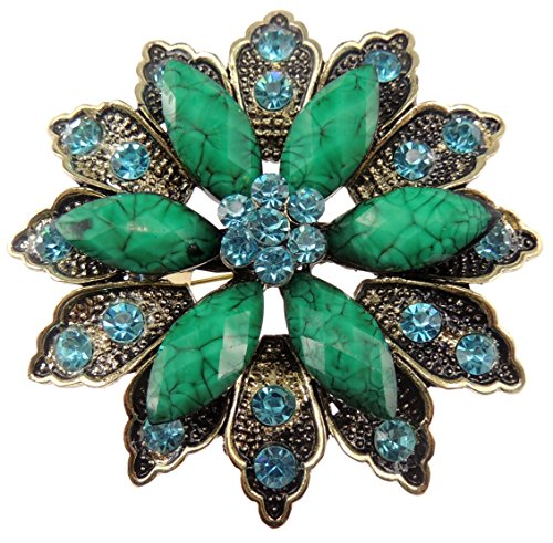 Glamour Girlz Ladies 6.5cm Large Evening Flower Turquoise Crystal Sparkly Brooch Jade Green