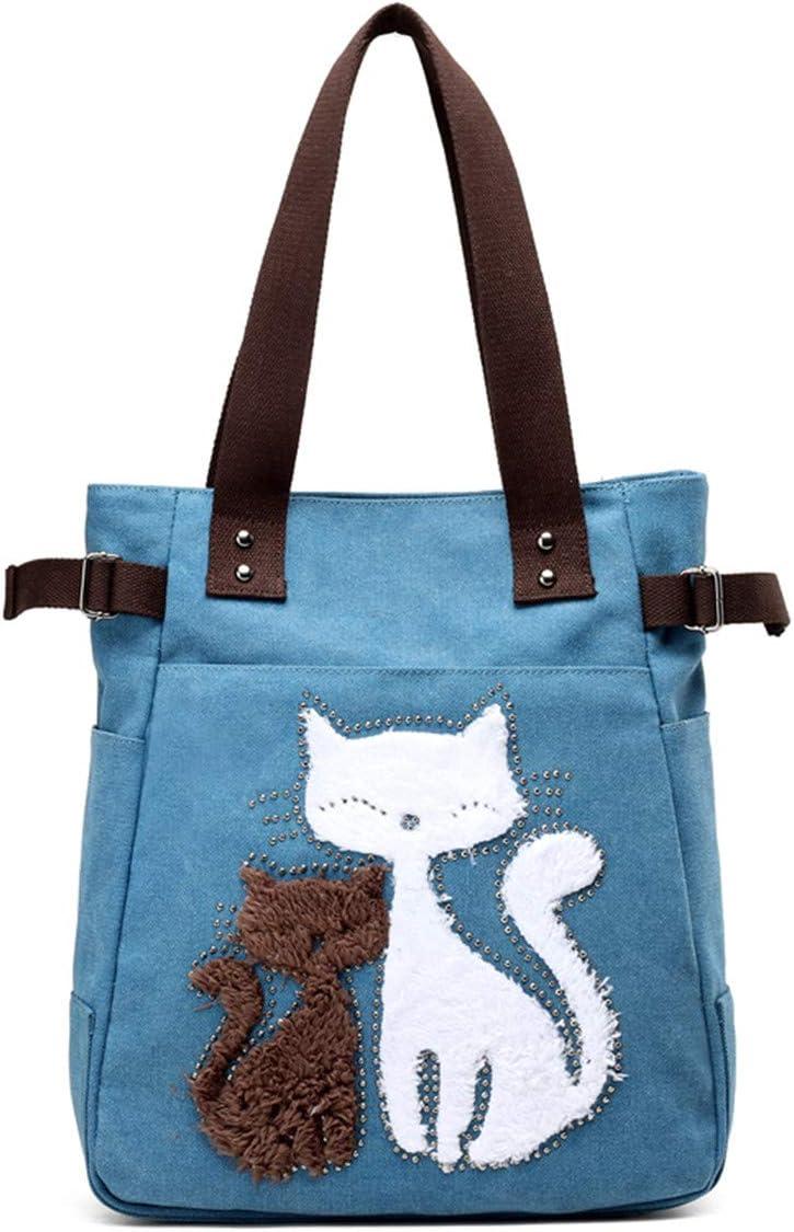 Woman Handbag Hobo Vintage Shoulder Bag Large Capacity Shopping Bags with Cat Pattern Girl JOSEKO Woman Canvas Tote Bag