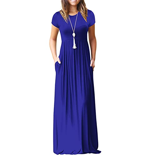 dfa57717d7afd Viishow Women's Short Sleeve Loose Plain Maxi Dresses Casual Long Dresses  with Pockets
