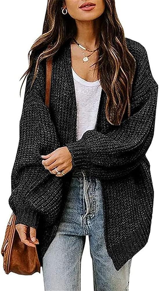 Lantern Sleeve Women Knitted Basic Sweater Autumn Open Stitch Female