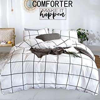 karever White Grid Comforter Set Large Square Plaid Geometric Pattern Printed Down Comforters 100 Cotton Fabric with Soft ...