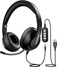 Mpow PC Headset 224, Foldable On-Ear Headset USB Headset/3.5mm Computer Headset with Retractable Microphone, Noise Cancelling Skype Headset for Mac PC Mobile Phone, Call Center,Online Conference