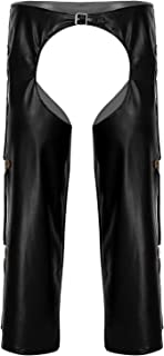 Mens Faux Leather Crotchless Chaps with Fringed Details Buckled Long Pants