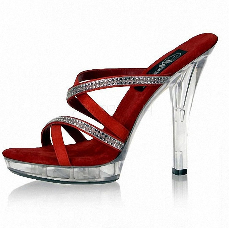 Women Crystal Sandals High Heel Flip Flop Peep Toe Stilettos shoes Ladies Fashion Ankle Strap Heel Wedding Party 13Cm