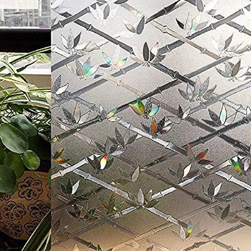 LMKJ Etiqueta engomada de la Ventana del patrón del Diamante de bambú adherencia estática Efecto del Arco Iris película de protección UV en el Sol A75 50x200cm