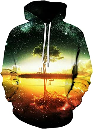 Yuehen Space Galaxy Hoodies Sweatshirt New Tree Lake Chiar 3D Hooded Hoody Sudadera