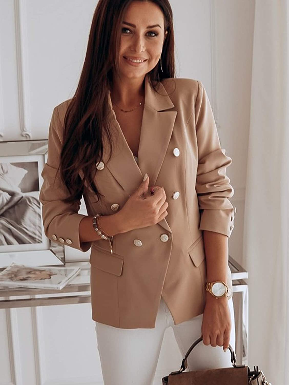 Beaufident Damen Elegant Langarm Blazer Sakko Einfarbig Slim Fit Revers Geschäft Büro Jacke Kurz Mantel Anzüge Slim Fit Bolero mit Tasche A Khaki