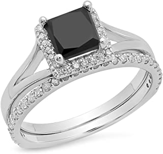 1.80 Carat (ctw) 10K Gold Princess Black & Round White Diamond Bridal Halo Engagement Ring