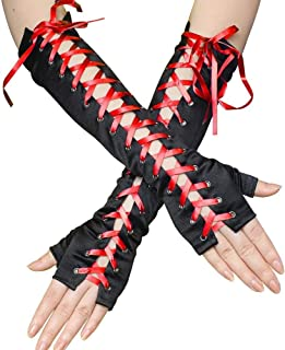 SGJFZD Womens Long Fingerless Gloves Satin Lace Up Gloves Arm Warmer for Party Supplies 3 Pair Sexy Gloves (Color : Red)
