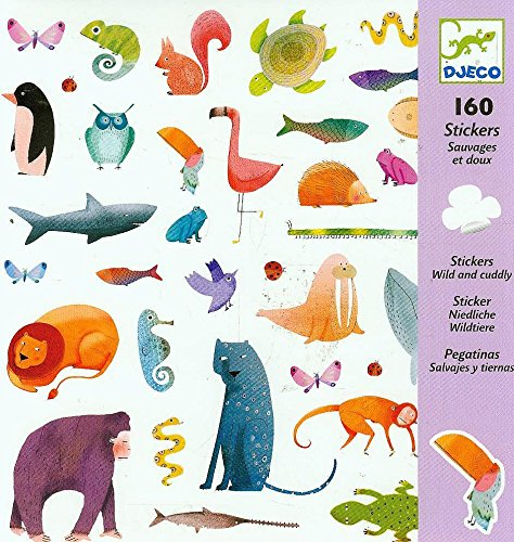 DJECO Lot de 100 ballons autocollants, sauvages et tendres Multicolore