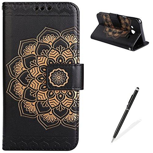 Custodia per Samsung Galaxy J5 in pelle MAGQI Premium PU Custodia in pelle Portafoglio in pelle morbida integrata TPU [Penna Stylus libera] Cinturino in polso trasparente per Samsung Galaxy J5-Nero