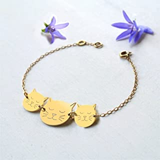 Personalised Gold Mommy and Babies Cat Face Bracelet for Mother's Day or birth of New Baby
