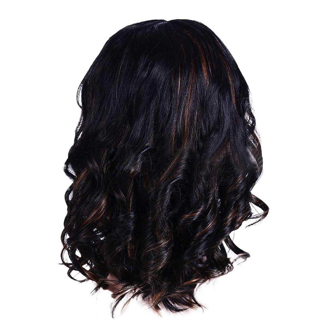 石炭鳩資料ウィッグの女性の短い巻き毛の黒ボブエレガントなファッションウィッグ