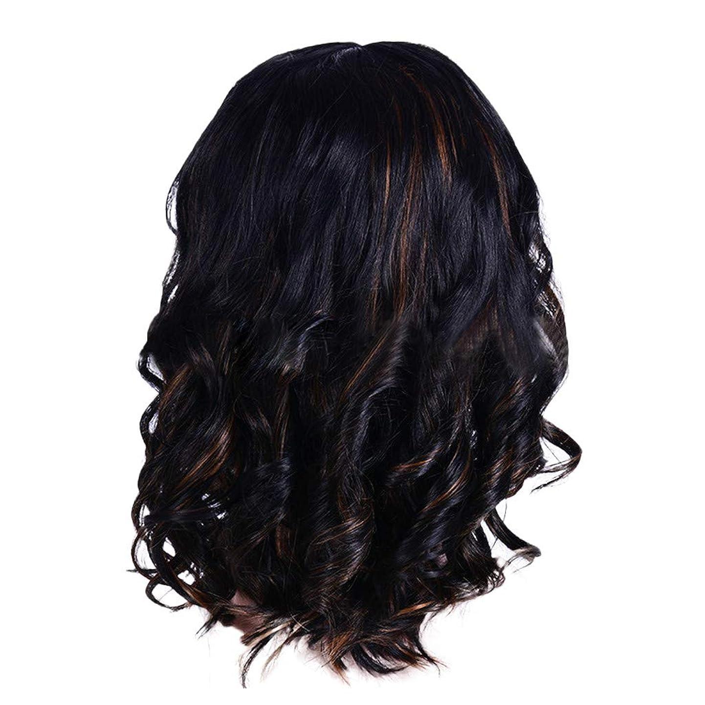 焦がす甘くするのれんウィッグの女性の短い巻き毛の黒ボブエレガントなファッションウィッグ