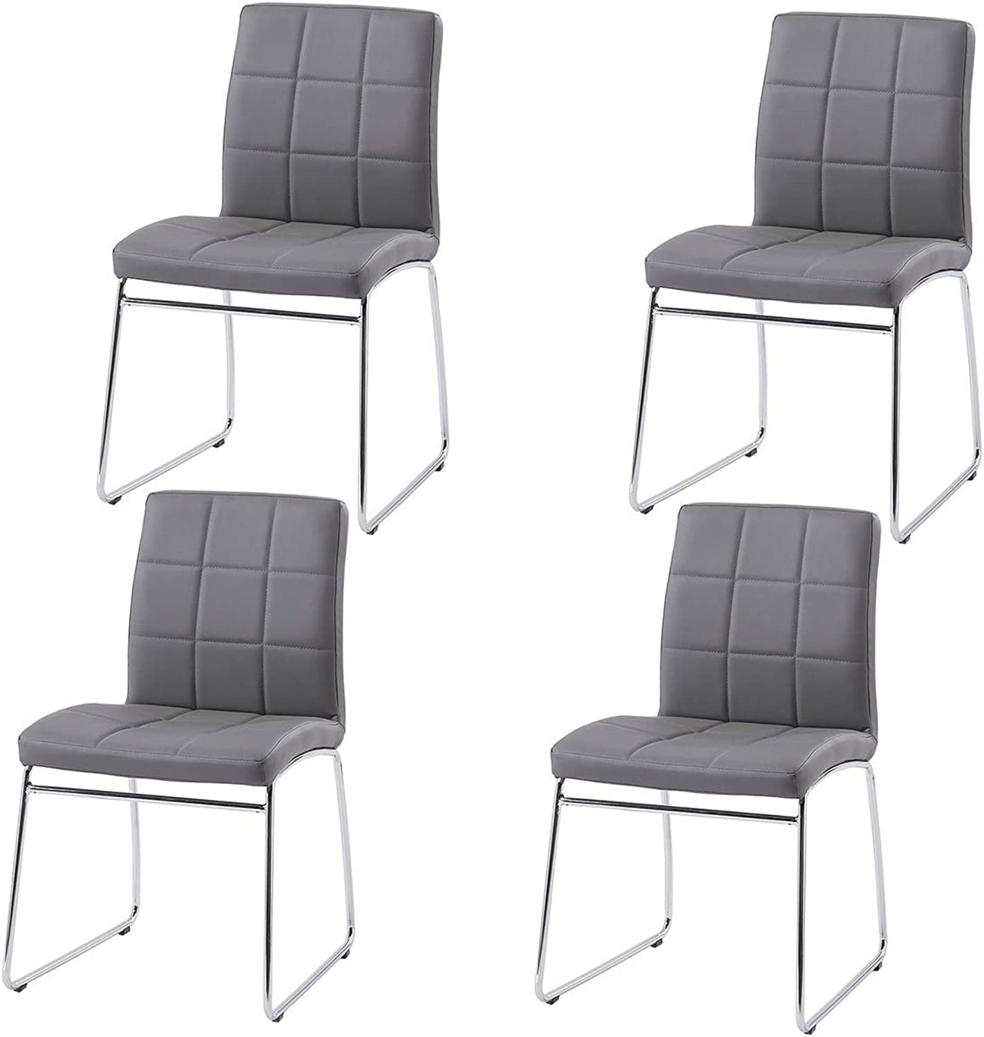 GIZZA Multi Purpose Dining Chairs Faux Leather Upholstered Sled Base Chrome Ergonomic Design Padded Seat Home Kitchen Office Waiting Room Use (Grey, 4 Chairs)