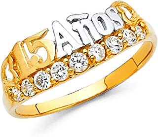Paradise Jewelers Quinceañera 15 Anos 14 K Sólido De Dos Tonos Oro Cubic Zirconia Anillo