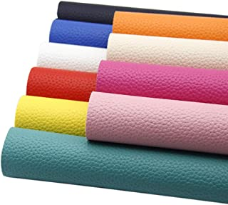 "David Angie 10 Pcs Solid PU Synthetic Leather Faux Litchi Pattern Leather Sheet 8"" x 13"" (20 x 34) Perfect for Dressing Sewing Crafting DIY Projects (Bright Color Leather)"