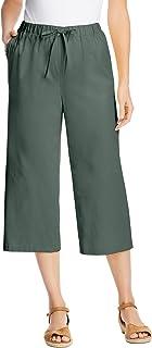 Women's Plus Size Drawstring Chambray Relaxed Capri Pants