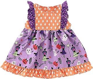 iLOOSKR Toddler Baby Girls Halloween Sleeveless Cartoon Square Dot Dress Ruffles Patchwork Clothes