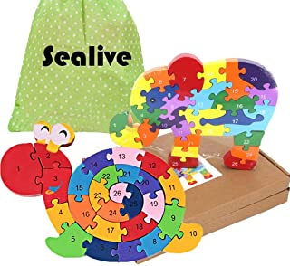 Sealive 52 Piece Wooden Blocks, Kids Toys Winding Snail and Elephant Wooden Animals Jigsaw Puzzles, Preschool Learning Toys Alphabet Puzzle Numbers Games Educational Gifts Set