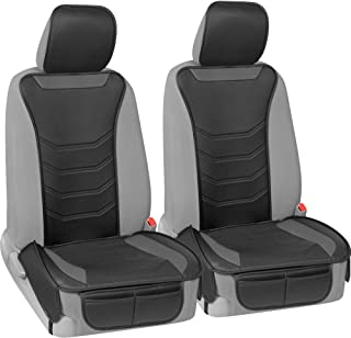 Motor Trend LuxeFit Gray Faux Leather Car Seat Cover for Front Seats, 2 Piece Set – Padded Universal Fit Luxury Cover, Fau...