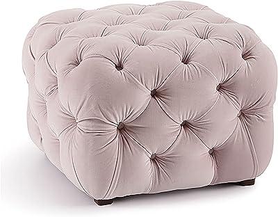 Round Deep Button Velvet Pouffe Seat, Cocktail Ottoman Modern for Living Room Bedroom Hidden Deco Stool Velvet Storage,Pink