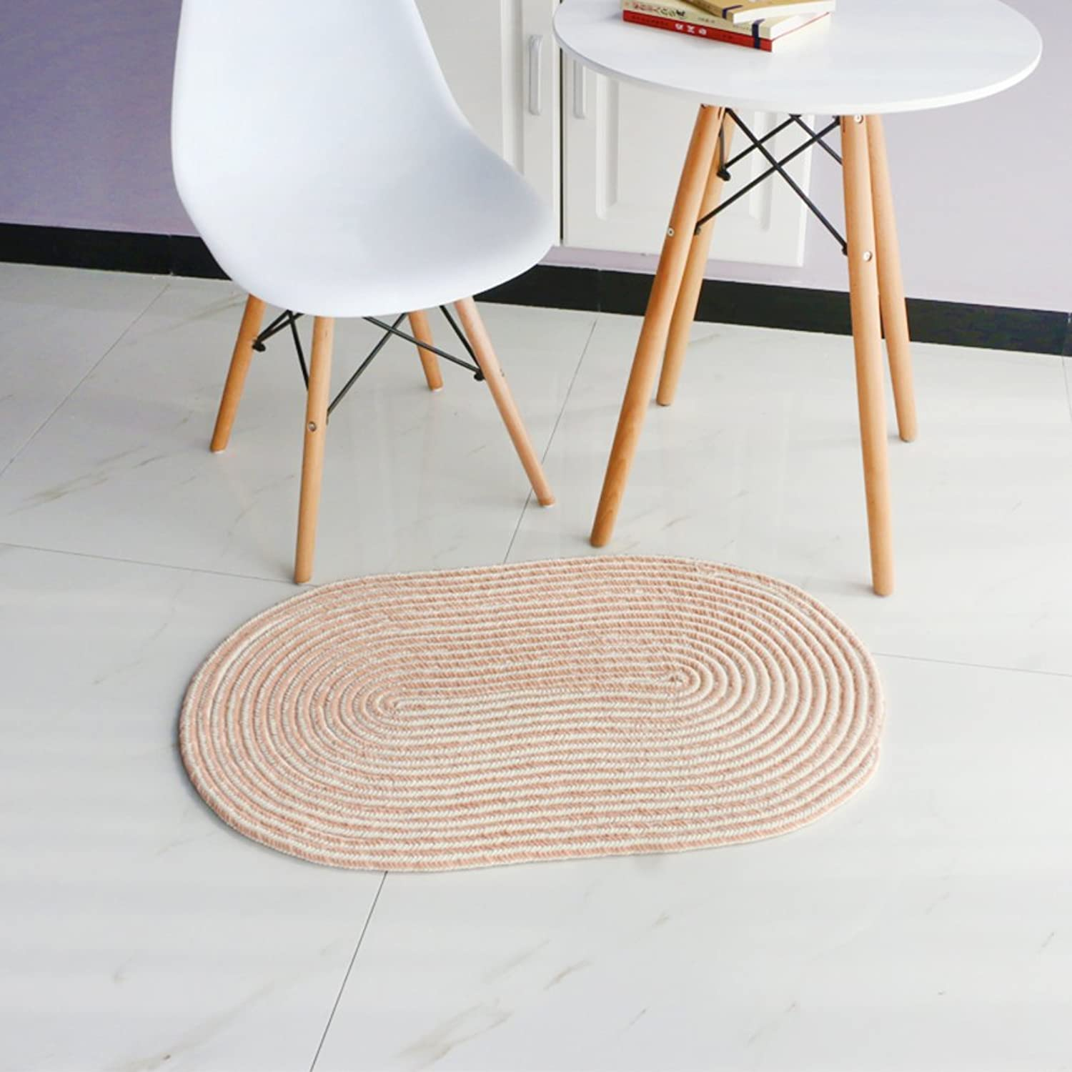 Chenille Weave Round Carpet Living Room Bedroom [Study] Hanging Basket Computer Chair mat Bedroom-D 60x90cm(24x35inch)