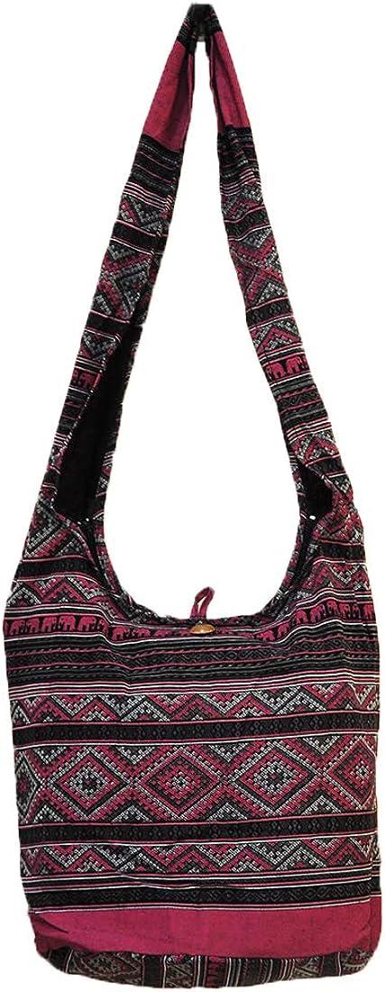 Thai Hippie Hobo Sling Crossbody Shoulder Bag Purse Handmade Zip Ethnic Black Cotton Gypsy Boho Messenger Large L1030
