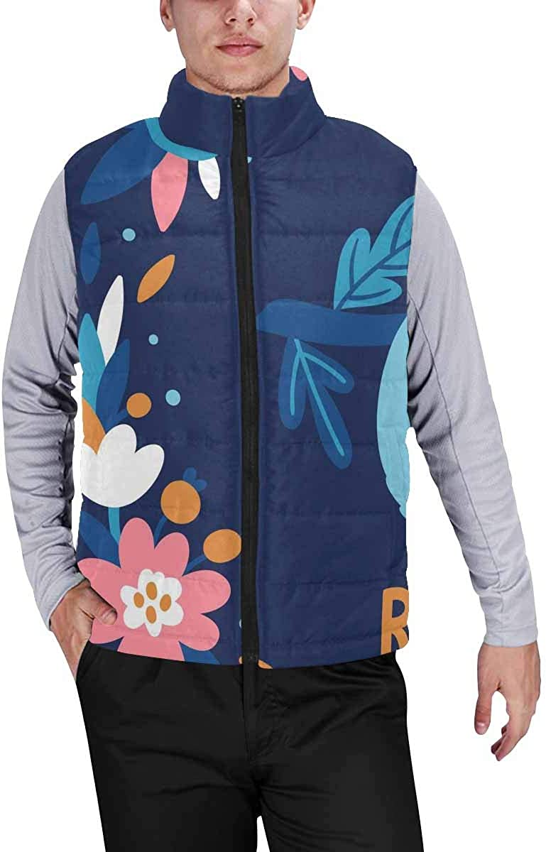 InterestPrint Men's Outdoor Casual Stand Collar Padded Vest Coats Floral Butterfly
