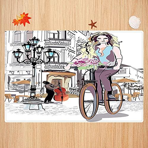 Alfombra de baño Antideslizante,Moda, Chica con Bicicleta y Rosas en una Calle...