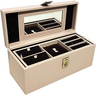 Stones Bridge Exclusive PU Leather Locker Jewellery Storage Box/Vanity Box/for Women (Cream)