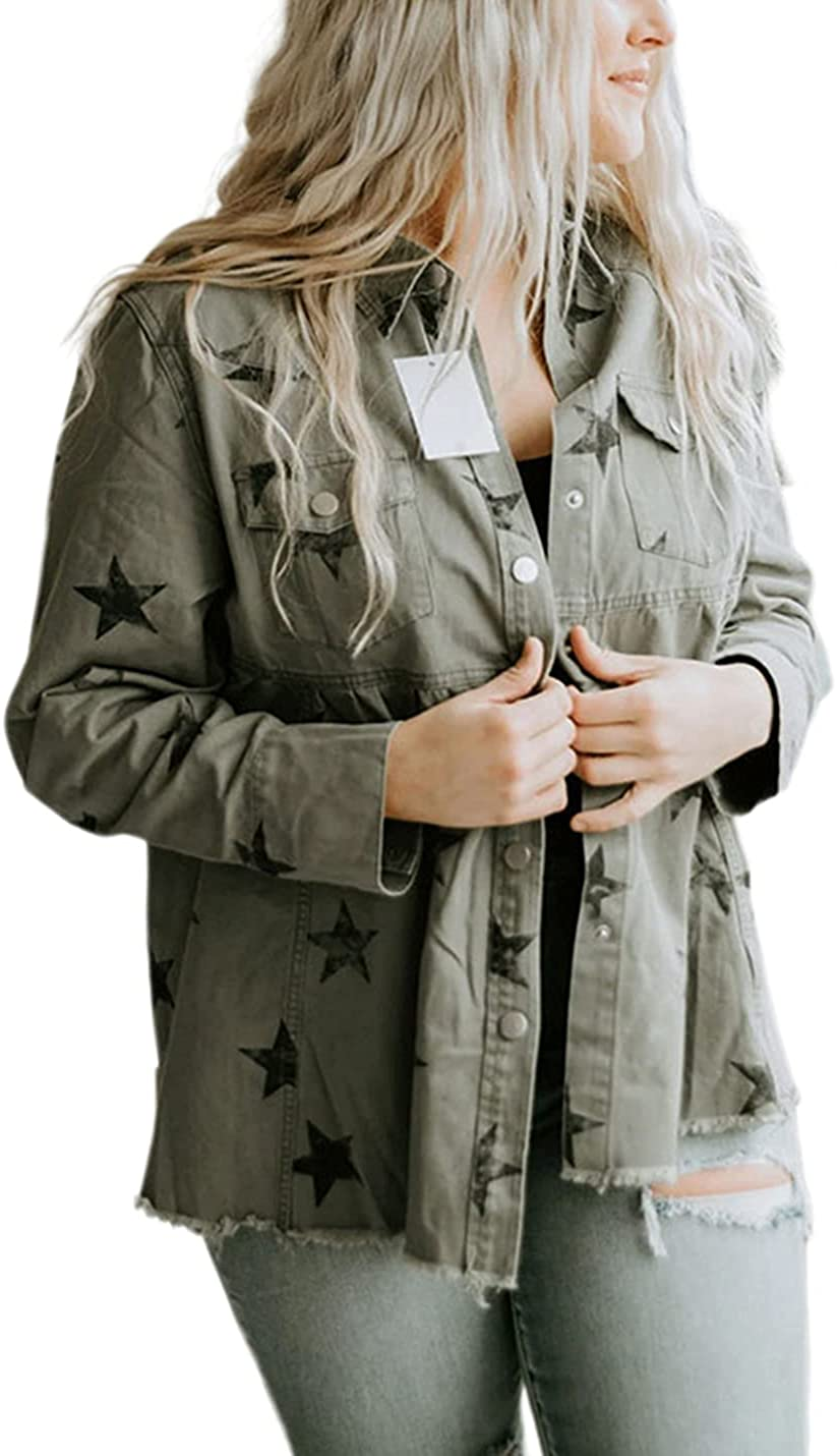 Women Loose Denim Jacket Long Sleeve Casual Denim Jacket Stars Ripped Denim Tops