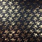 Gold & Schwarz Halloween Metallic Seidiger Satin Skull &