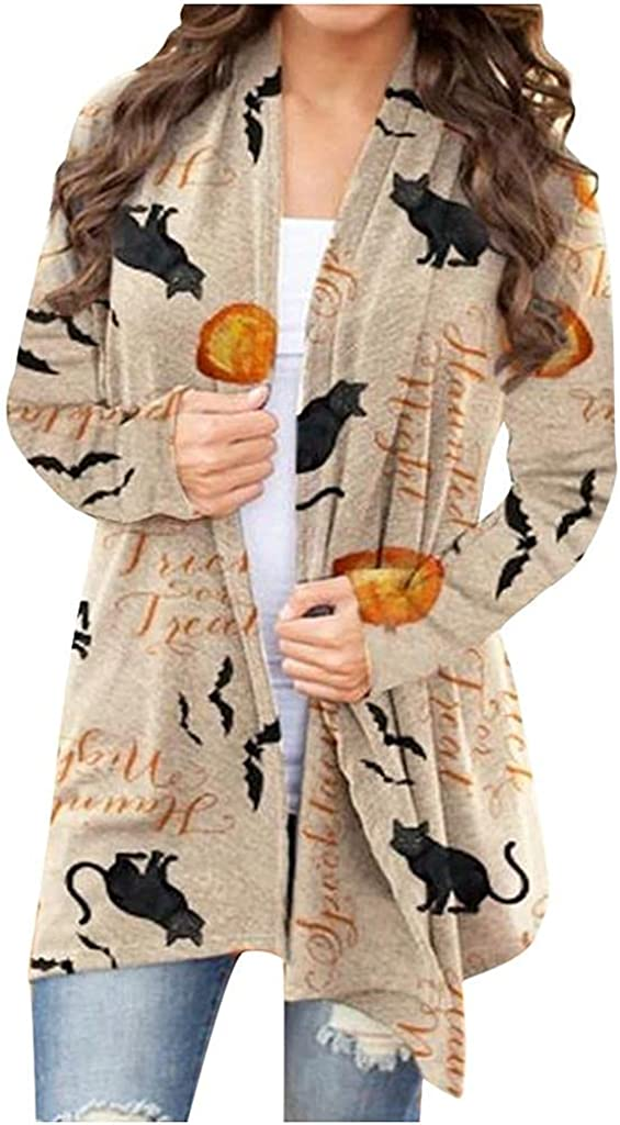 Halloween Cardigan for Women Fashion Long Sleeves Open Front Coat Tops Pumpkin Print Cardigan Lightweight Coat Tops