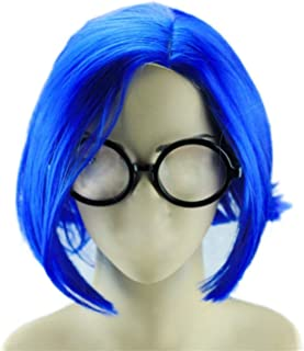 Glameow Adjustable Short Cosplay Wig Blue Green Hair Halloween Party Costume (Blue with Glasses)