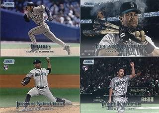 2019 Topps Stadium Club Baseball Seattle Mariners Team Set of 9 Cards: Felix Hernandez(#209), Justus Sheffield(#216), Edgar Martinez(#223), Mitch Haniger(#224), Ichiro(#243), Dee Gordon(#252), Ken Griffey Jr.(#257), Edwin Encarnacion(#265), Yusei Kikuchi(#274)