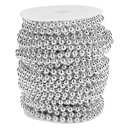 25 m elektrolytische ketting met parels voor kerstdecoratie, bruiloft, slingers, pareldecoratie, slinger diameter 6 mm (goud of zilver) Silver