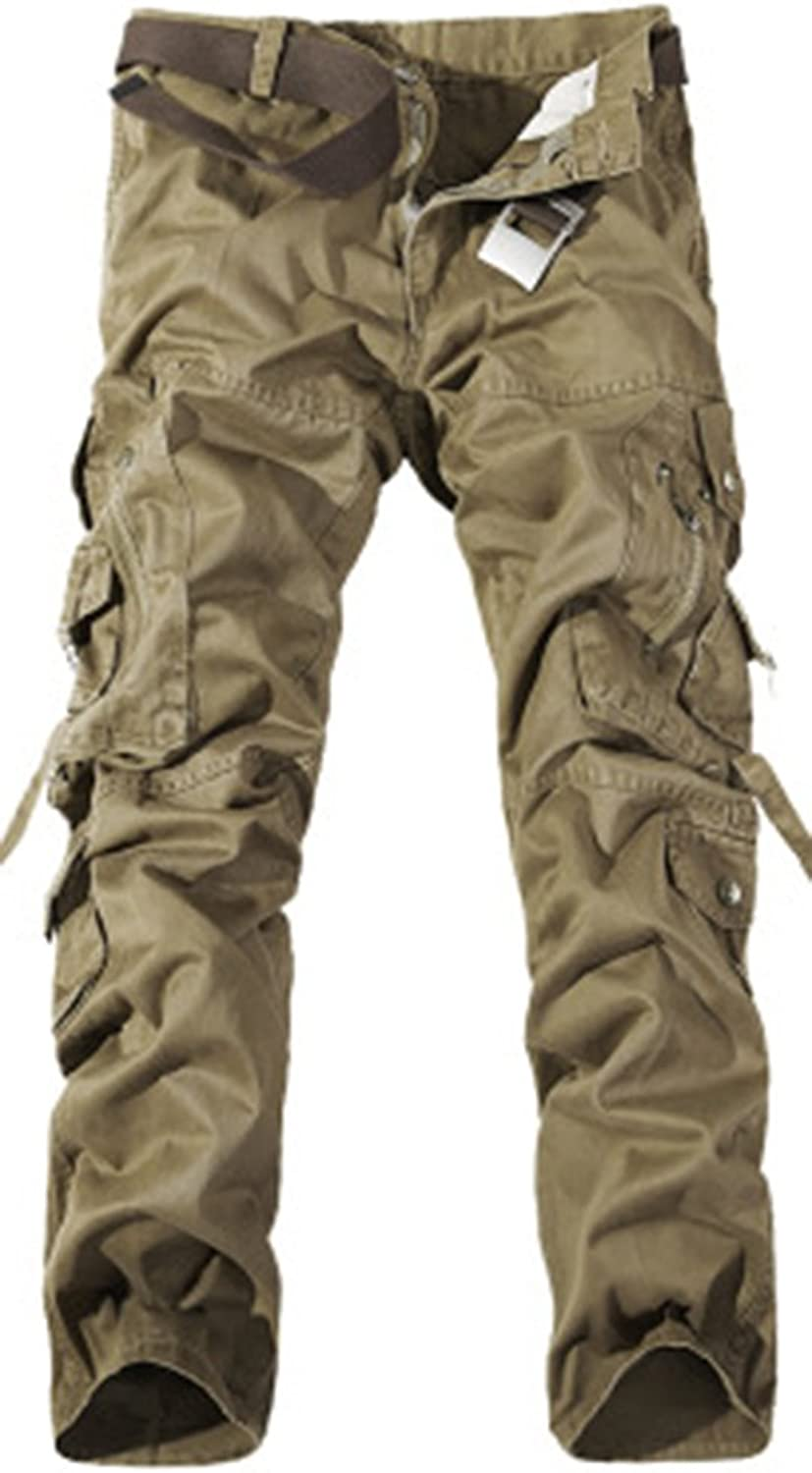 AbelWay Men's Casual Cotton Twill Cargo Pants Multi Pockets Camo Combat Outdoor Hiking Wear Work Trousers