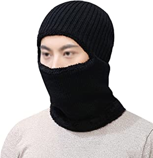 Editha Unisex Solid Color Knit Beanie Hat Scarf Winter Warm Hoodie Hat Collar